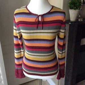 Boho Stripe Crochet Bell Cuff Sweater | Large